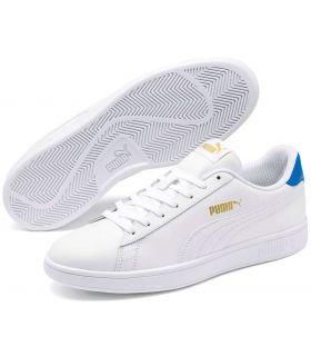 Puma Smash v2 Leather White Blue Puma Shoes Casual Man Lifestyle